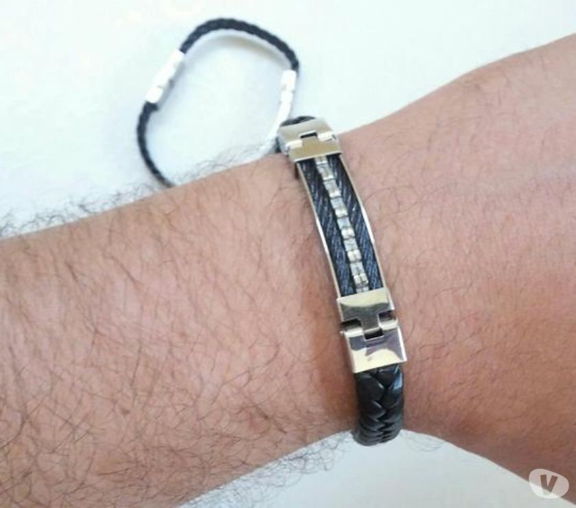 Fotos para Pulseira Bracelete em Couro & Aço 200