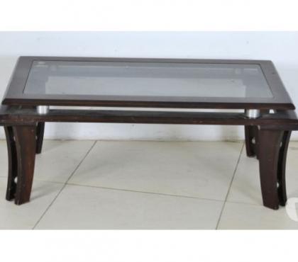 Mesa baixa retangular em madeira de Ley e Vidro 40x104x58cm comprar usado  Rio de Janeiro RJ
