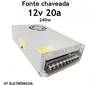 Fotos para Fonte Chaveada 12v 20a 240w Câmera Cftv Fita Led Envio Moto