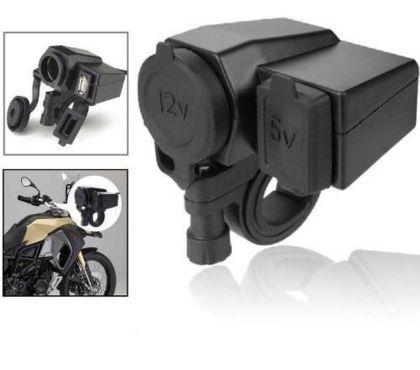 Fotos para Tomada 12v E 5v Usb Para Moto Carrega Celular Gps