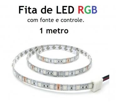 Fotos para 1 metro de Fita de LED Rgb Colorida 5050 + fonte e controle