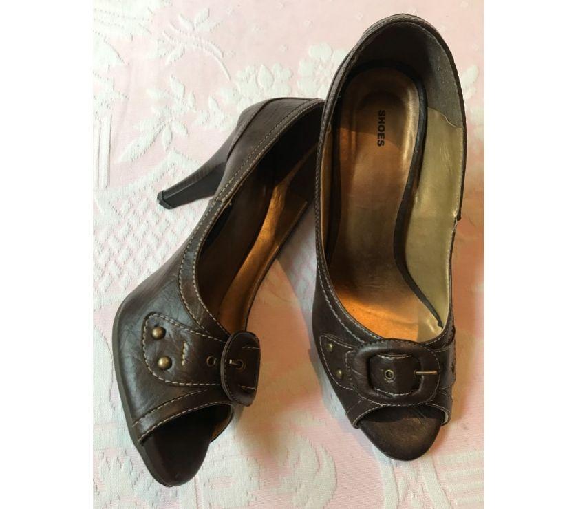 Fotos para Sapato, modelo ana gimenez, cor marron café, salto alto, nº