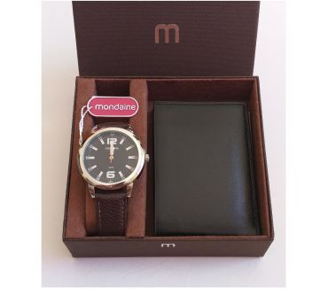 Fotos para Kit Relógio Mondaine & Carteira 0010