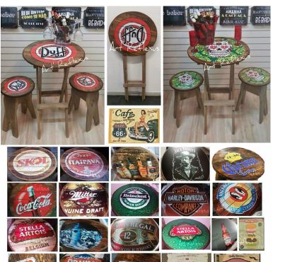 Fotos para mesa de canto-dobravel-com 2 bancos e moveis art reflexus