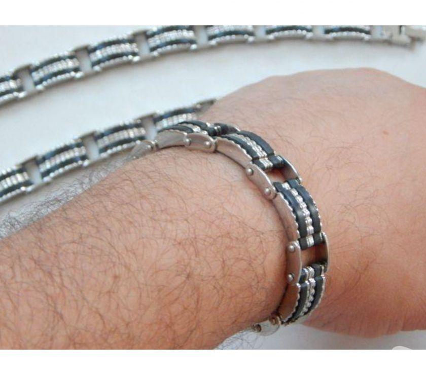 Fotos para Pulseira Bracelete de Aço com Silicone 106