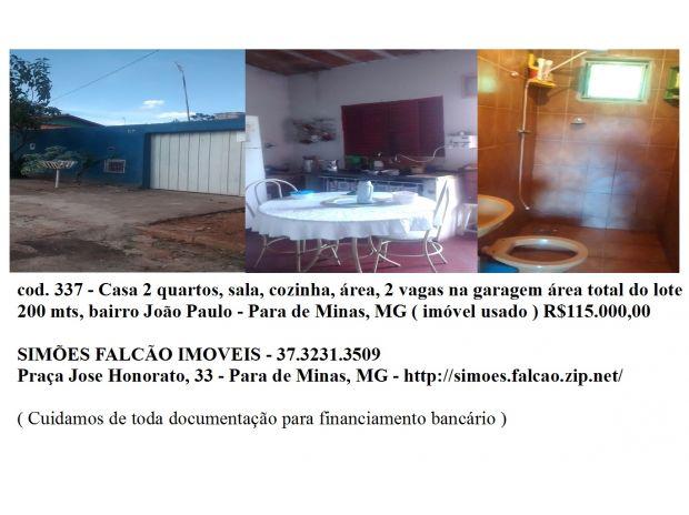 Fotos para casa 2 quartos, bairro Joao paulo - Para de Minas, Mg