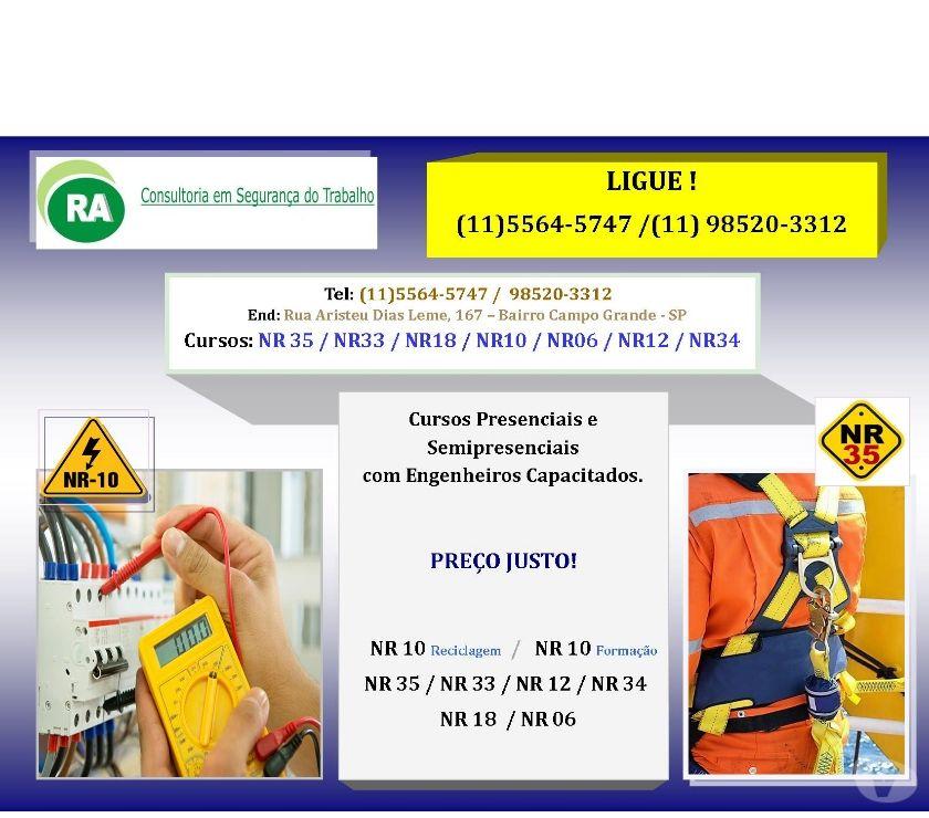 Outros cursos Sao Paulo SP Capela do Socorro - Fotos para PRESENCIAL CURSO NR-10, NR-33, NR-35 SANTO AMARO ZONA SUL SP