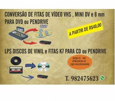 Fotos para Conversão de Fitas de Vídeo VHS para DVD, LPS para CD .