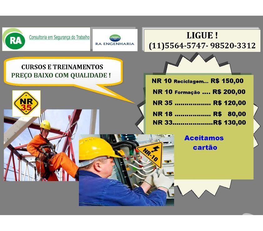 Fotos para Curso NR-35 R$ 120,00 Santo Amaro Granja Julieta Zona Sul SP