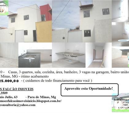 Fotos para Casa 3 quartos, nova bairro União , Para de Minas, Mg