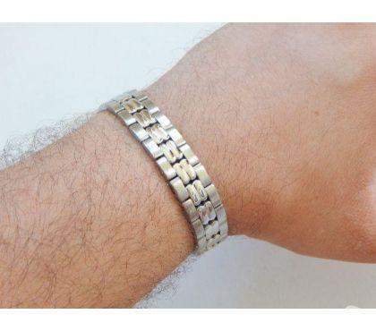 Fotos para Pulseira Bracelete de Aço Masculina 015