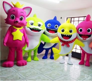Fotos para Baby Shark Cover personagens vivos para festa infantil