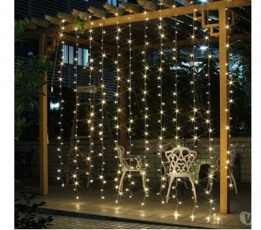 Fotos para Cortina de LED 110v 3 x 2.5m Branco Quente Fixa Não Pisca