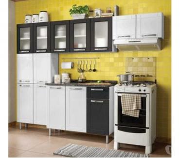 Fotos para Cozinha de Aço Compacta Bertolini BrancoPretoPreto Branco