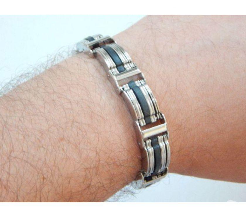 Fotos para Pulseira Bracelete de Aço com Silicone 105