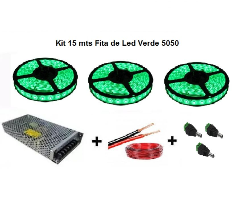 Fotos para Kit 15 Metros Fita Led Verde 5050 Completo Para Sanca