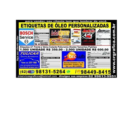ETIQUETAS DE ÓLEO PERSONALIZADAS, usado comprar usado  Goiania GO