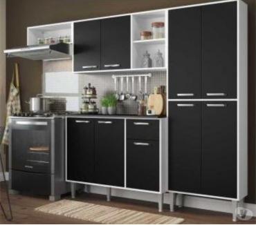 Fotos para Cozinha Compacta 9 Portas Multimóveis Branco Preto