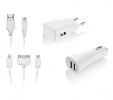 Fotos para Kit Carregador 3 em 1 Micro USB IOS 4 IOS 5 Multilaser