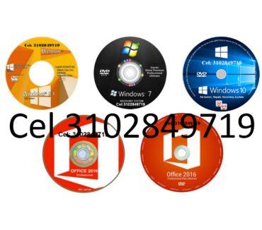 Fotos de DVD Windows 7, 8.1, 10 de 32 y 64 Bits, más DVD Office 16,19