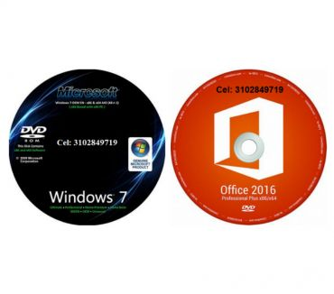 Fotos de DVD Windows 7 de 32 y 64 más DVD Office 2016 de 32 y 64