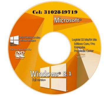 Fotos de DVD Windows 8.1 de 32 y 64 bis, envió gratis.