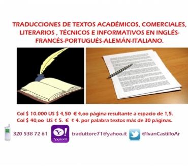 Fotos de Traducciones en Inglés, Francés Portugués y Alemán, Italiano